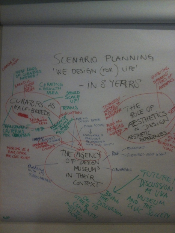At the end of the day we discussed some future design museum scenarios